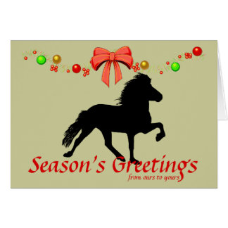 Icelandic Horse Silhouette Christmas Greeting Cards