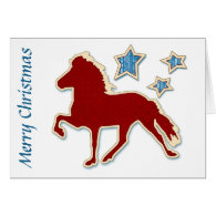 Icelandic Horse Stars Merry Christmas Greeting Cards