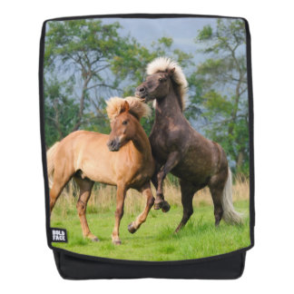 Icelandic Horses Funny Playing Rearing - Boldface Backpack