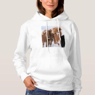 Icelandic Horses nuzzle, Iceland Hoodie