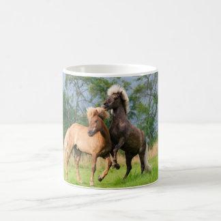 Icelandic Horses Playing and Rearing, Photo _ Coffee Mug