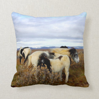Icelandic Horses Throw Pillow