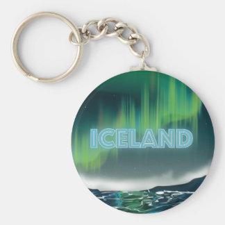 Icelandic Northern Lights Travel Art Basic Round Button Keychain