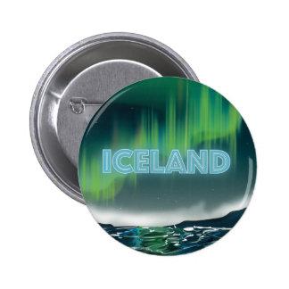 Icelandic Northern Lights Travel Art 2 Inch Round Button