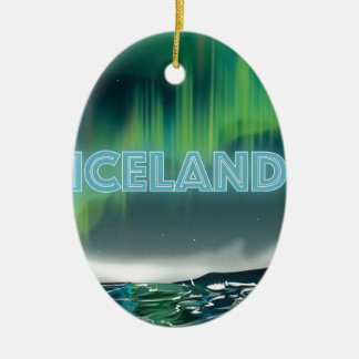 Icelandic Northern Lights Travel Art Ceramic Ornament