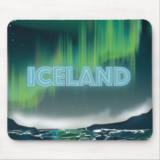Icelandic Northern Lights Travel Art Mouse Pad