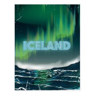 Icelandic Northern Lights Travel Art Postcard