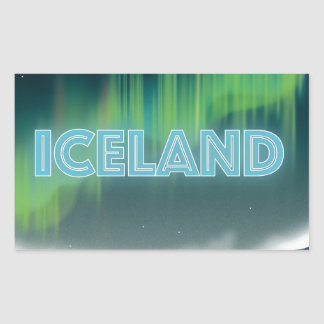 Icelandic Northern Lights Travel Art Rectangular Sticker