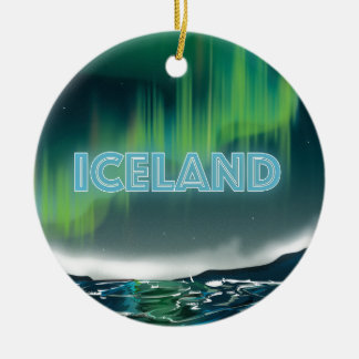 Icelandic Northern Lights Travel Poster. Ceramic Ornament