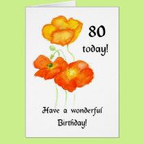 Icelandic Poppies 80th Birthday Card