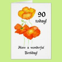 Icelandic Poppies 90th Birthday Card