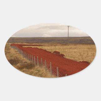 Icelandic Red Dirt Road Oval Sticker