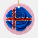 Icelandic Rose Flag on Pink Double-Sided Ceramic Round Christmas Ornament