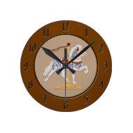 Icelandic Rose Scroll Carousel Horse Round Wall Clock