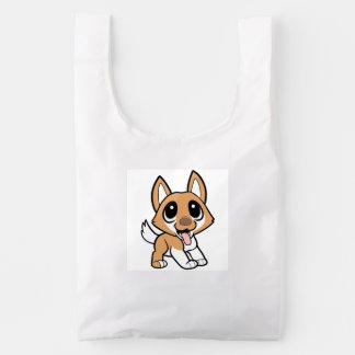 icelandic sheepdog cartoon reusable bag