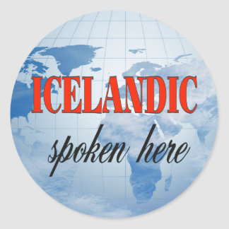 Icelandic spoken here cloudy earth classic round sticker