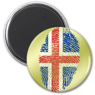 Icelandic touch fingerprint flag 2 inch round magnet