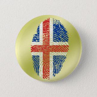 Icelandic touch fingerprint flag pinback button