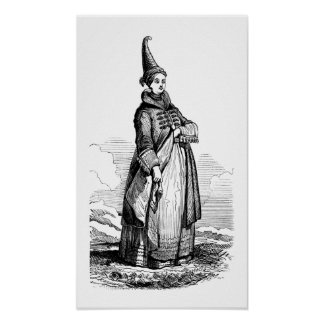 Icelandic woman wearing a traditional dress poster