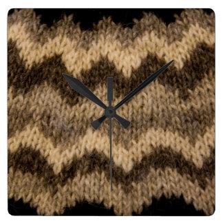 Icelandic wool pattern square wallclocks