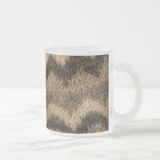 Icelandic wool pattern frosted glass coffee mug