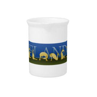 Icelandic written in ponies drink pitcher