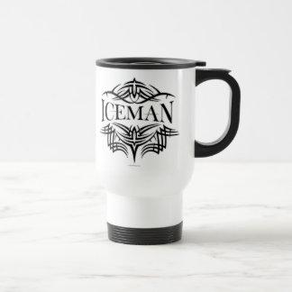 Iceman tribal del hockey (sombreado) taza de viaje