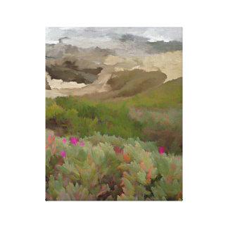 Iceplants de florecimiento por el océano impresión en lienzo