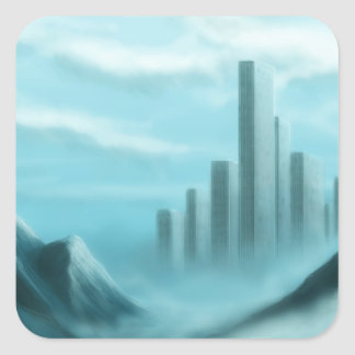 iceworld fantasy landscape square sticker