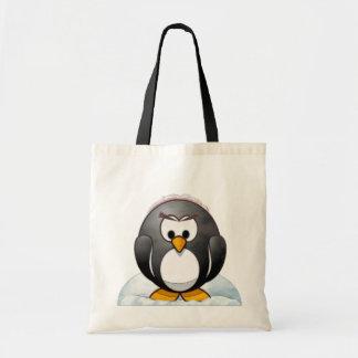 Icey Penquin Cartoon Budget Tote Bag