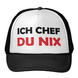 Ich Chef du nix black and red icon Trucker Hat