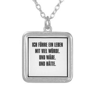 ich führe ein leben mit viel würde. square pendant necklace