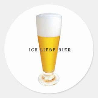 Ich Liebe Bier Round Sticker