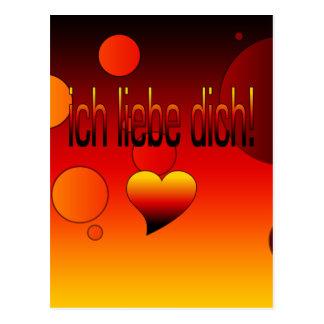 Ich Liebe Dich! German Flag Colors Pop Art Postcard