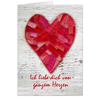Ich liebe dich, German Language Valentine, Heart Card