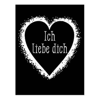 Ich liebe dich, I love you in German black & white Postcard