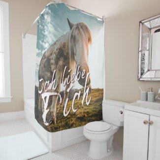 Ich liebe dich mit schauenden Pferd Shower Curtain