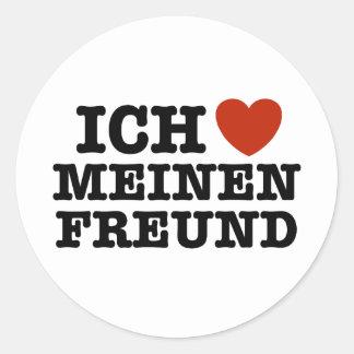 Ich Liebe Meinen Freund Round Sticker