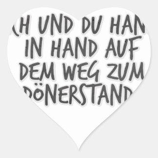 Ich und du Hand in Hand auf dem Weg zum Dönerstand Heart Sticker