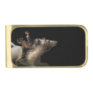 Ichabod Crane Looking Over His Shoulder Gold Finish Money Clip