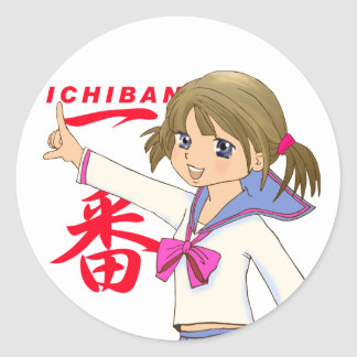 ICHIBAN RED Sera Fuku MOE GIRL Classic Round Sticker