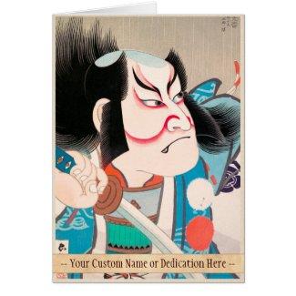 Ichikawa Danjuro kabuki samurai warrior tattoo art Greeting Cards