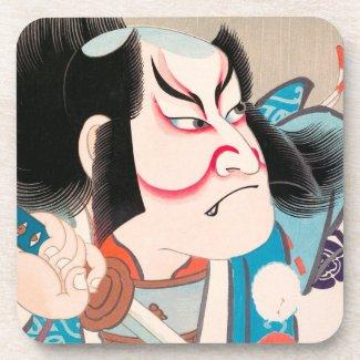 Ichikawa Danjuro kabuki samurai warrior tattoo art Beverage Coaster
