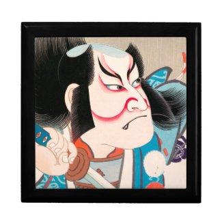 Ichikawa Danjuro kabuki samurai warrior tattoo art Keepsake Boxes