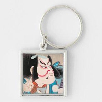 Ichikawa Danjuro kabuki samurai warrior tattoo art Keychain