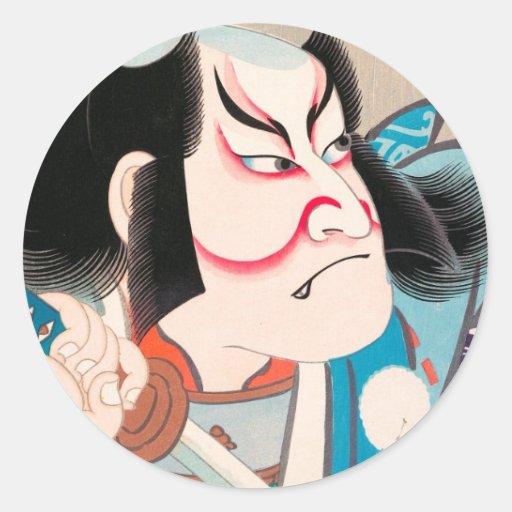 ichikawa danjuro kabuki samurai warrior tattoo art classic round sticker zazzle. Black Bedroom Furniture Sets. Home Design Ideas