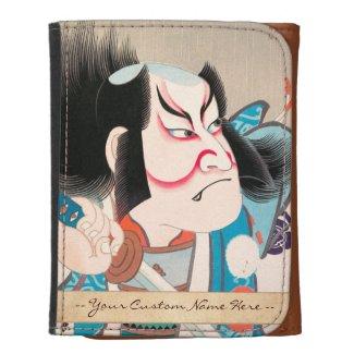 Ichikawa Danjuro kabuki samurai warrior tattoo art Trifold Wallet