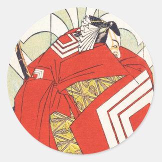 Ichikawa Danjuro V in a Shibaraku Role Katsukawa Classic Round Sticker