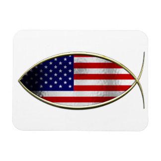 Ichthus - American Flag Magnet