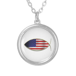 Ichthus - American Flag Personalized Necklace